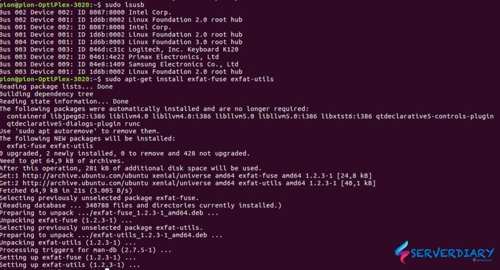 Install exfat filesystem on Ubuntu